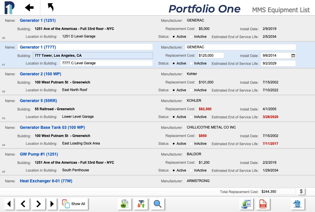 Portfolio One MMS Equipment List Screen Shot